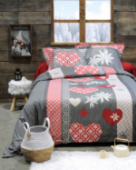 Housse de couette coeur edelweiss rouge