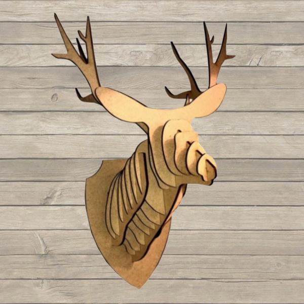 Tête de cerf bois